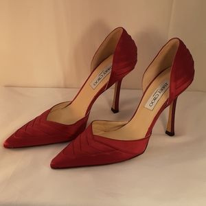 Jimmy Choo red satin pointy toe heel